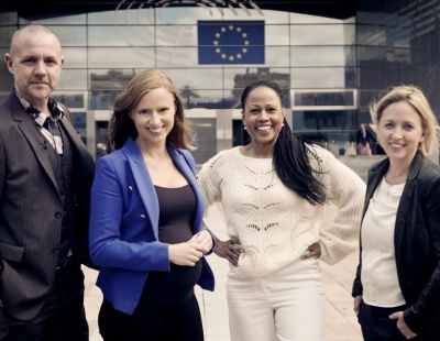 Fredrik Federley (c), Sara Skyttedal (kd), Alice Bah Khunke (mp) och Jytte Guteland (s) Foto Faktabruket / Svt